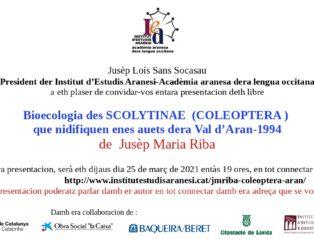 PRESENTACION DETH TRABALH DE JUSÈP MARIA RIBA SUS ES COLEOPTERA