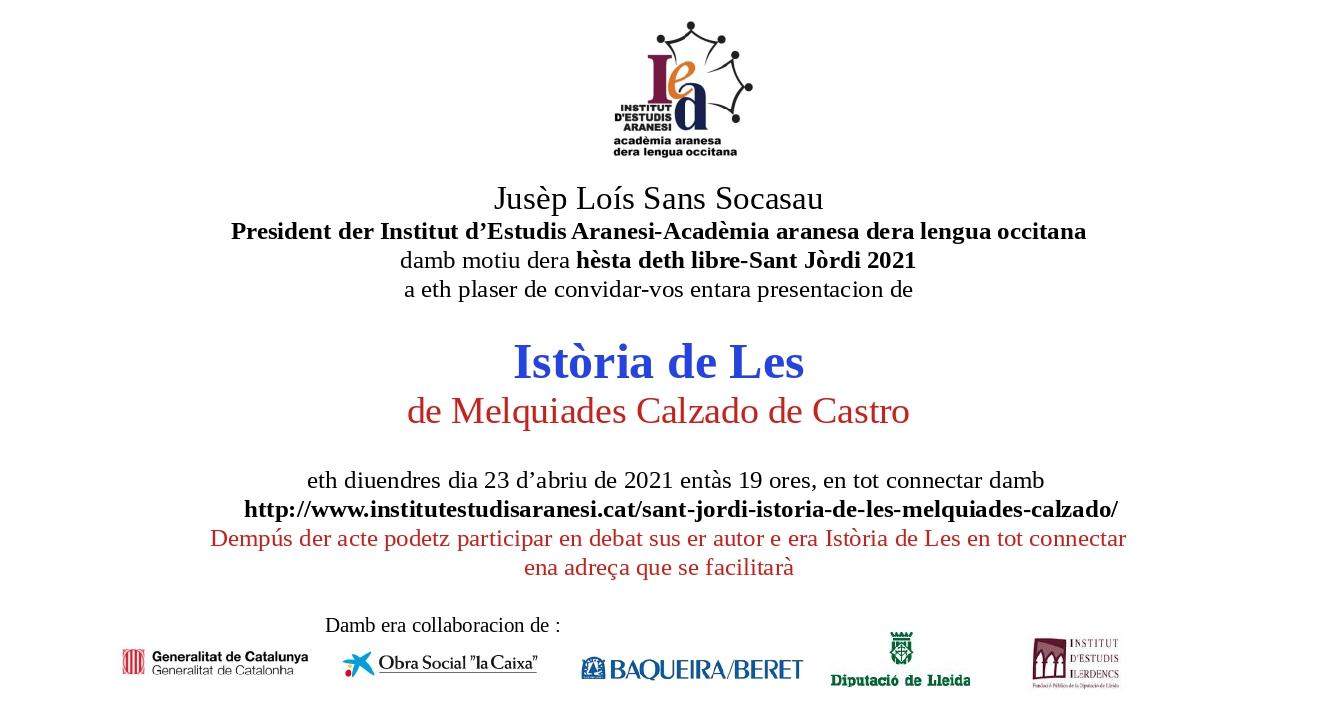 SANT JÒRDI 2021: PRESENTACION DERA ISTÒRIA DE LES DE MELQUIADES CALZADO