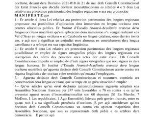 ERA ACADÈMIA CONDÈMNE ERA DECISION DETH CONSELH CONSTITUCIONAU FRANCÉS